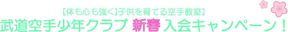 武道空手少年クラブ 新春 入会キャンペーン!